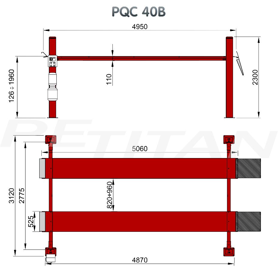 Sice PQC 40B négyoszlopos emelő 2